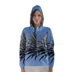 Tropical Palm Tree  Hooded Wind Breaker (women) by BrightVibesDesign