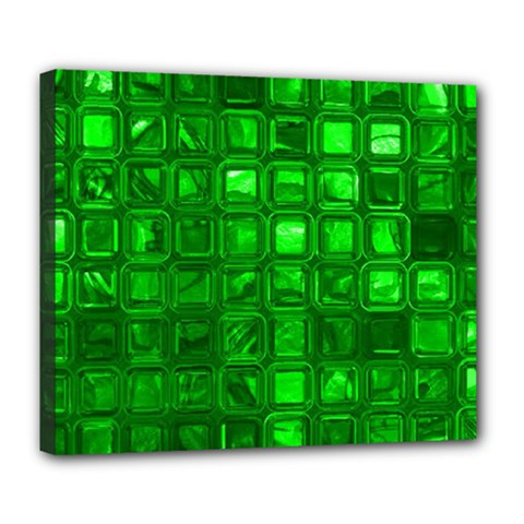 Glossy Tiles,green Deluxe Canvas 24  X 20   by MoreColorsinLife