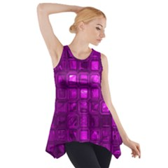 Glossy Tiles,purple Side Drop Tank Tunic by MoreColorsinLife