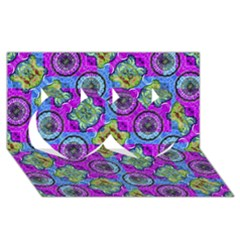 Collage Ornate Geometric Pattern Twin Hearts 3d Greeting Card (8x4)  by dflcprints