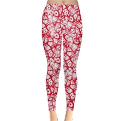 Officially Sexy Red & White Cracked Pattern Winter Leggings  by OfficiallySexy
