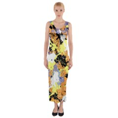 Abstract #10 Fitted Maxi Dress by Uniqued