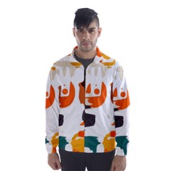 Shapes In Retro Colors On A White Background Wind Breaker (men) by LalyLauraFLM