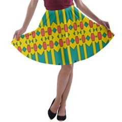 Shapes And Stripes  A Line Skater Skirt by LalyLauraFLM