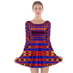 Bright Blue Red Yellow Mod Abstract Long Sleeve Skater Dress by BrightVibesDesign