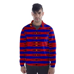 Bright Blue Red Yellow Mod Abstract Wind Breaker (men) by BrightVibesDesign