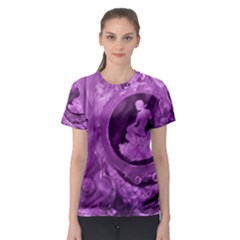 Vintage Purple Lady Cameo Women s Sport Mesh Tee by BrightVibesDesign