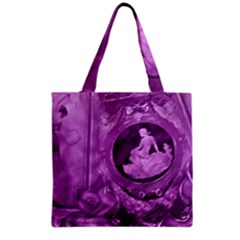 Vintage Purple Lady Cameo Grocery Tote Bag by BrightVibesDesign