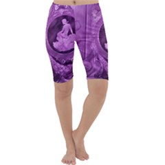 Vintage Purple Lady Cameo Cropped Leggings  by BrightVibesDesign