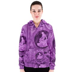 Vintage Purple Lady Cameo Women s Zipper Hoodie by BrightVibesDesign