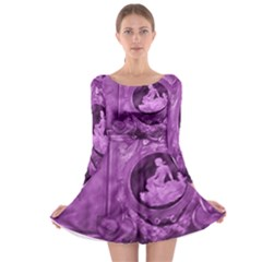 Vintage Purple Lady Cameo Long Sleeve Skater Dress by BrightVibesDesign