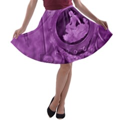 Vintage Purple Lady Cameo A Line Skater Skirt by BrightVibesDesign