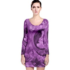 Vintage Purple Lady Cameo Long Sleeve Velvet Bodycon Dress by BrightVibesDesign