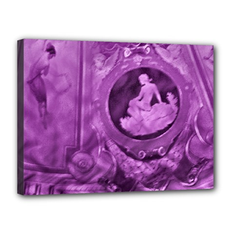 Vintage Purple Lady Cameo Canvas 16  X 12  by BrightVibesDesign