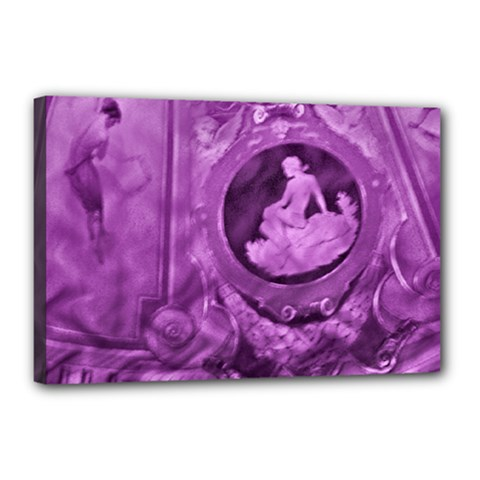 Vintage Purple Lady Cameo Canvas 18  x 12  by BrightVibesDesign