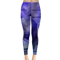 Blue Comedy Drama Theater Masks Leggings  by BrightVibesDesign