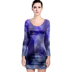 Blue Comedy Drama Theater Masks Long Sleeve Bodycon Dress by BrightVibesDesign