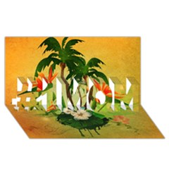 Tropical Design With Flowers And Palm Trees #1 Mom 3d Greeting Cards (8x4)  by FantasyWorld7