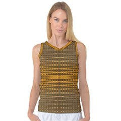 Yellow Gold Khaki Glow Pattern Women s Basketball Tank Top by BrightVibesDesign