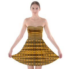 Yellow Gold Khaki Glow Pattern Strapless Dresses by BrightVibesDesign