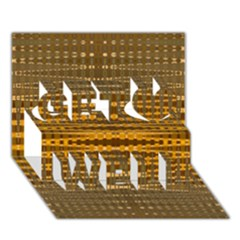 Yellow Gold Khaki Glow Pattern Get Well 3d Greeting Card (7x5)  by BrightVibesDesign