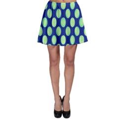 Mod Retro Green Circles On Blue Skater Skirt by BrightVibesDesign