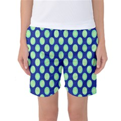 Mod Retro Green Circles On Blue Women s Basketball Shorts by BrightVibesDesign