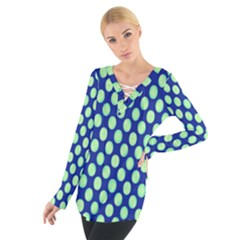 Mod Retro Green Circles On Blue Women s Tie Up Tee by BrightVibesDesign