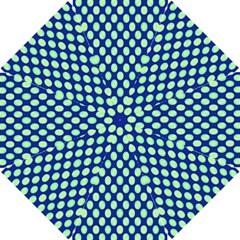 Mod Retro Green Circles On Blue Golf Umbrellas by BrightVibesDesign