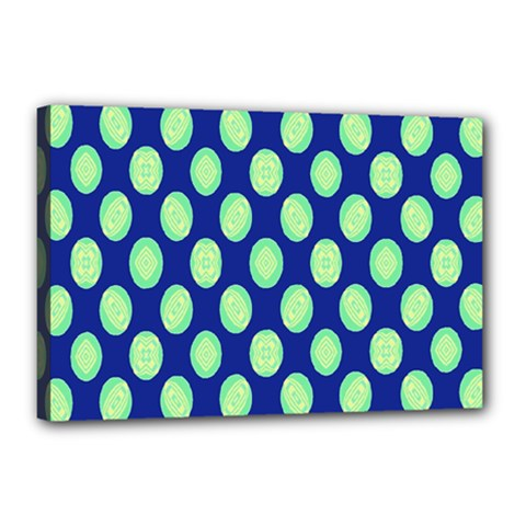 Mod Retro Green Circles On Blue Canvas 18  X 12  by BrightVibesDesign