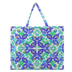Stylized Floral Check Seamless Pattern Zipper Large Tote Bag by dflcprints