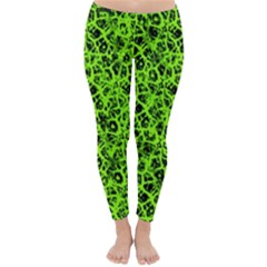 Officially Sexy Lime & Black Cracked Pattern Winter Leggings  by OfficiallySexy