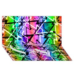 Multicolor Geometric Grunge Twin Heart Bottom 3d Greeting Card (8x4)  by dflcprints