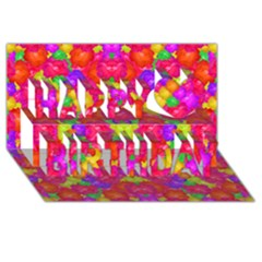 Multicolor Floral Check Happy Birthday 3d Greeting Card (8x4)  by dflcprints