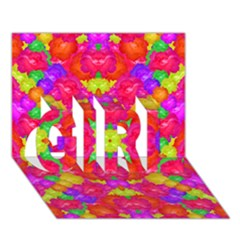 Multicolor Floral Check Girl 3d Greeting Card (7x5)  by dflcprints
