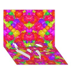 Multicolor Floral Check Love Bottom 3d Greeting Card (7x5)  by dflcprints
