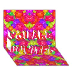 Multicolor Floral Check You Are Invited 3d Greeting Card (7x5)  by dflcprints