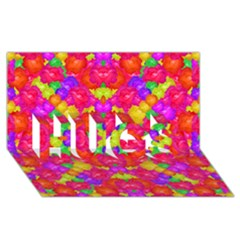 Multicolor Floral Check Hugs 3d Greeting Card (8x4)  by dflcprints