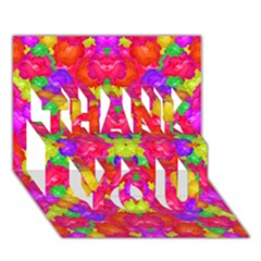 Multicolor Floral Check Thank You 3d Greeting Card (7x5)  by dflcprints