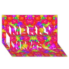 Multicolor Floral Check Merry Xmas 3d Greeting Card (8x4)  by dflcprints