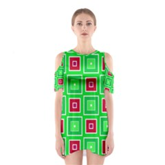 Green red squares pattern    Women s Cutout Shoulder Dress