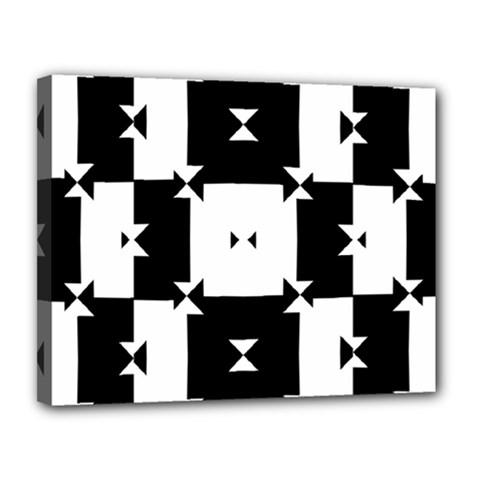 Black And White Check Pattern Canvas 14  X 11  by dflcprints