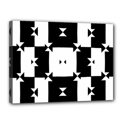 Black And White Check Pattern Canvas 16  X 12  by dflcprints