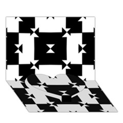 Black And White Check Pattern Heart Bottom 3d Greeting Card (7x5)  by dflcprints