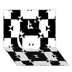 Black And White Check Pattern Apple 3d Greeting Card (7x5)  by dflcprints
