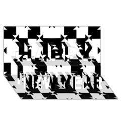 Black And White Check Pattern Happy New Year 3d Greeting Card (8x4)  by dflcprints