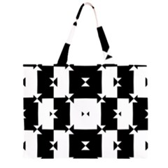 Black And White Check Pattern Large Tote Bag by dflcprints