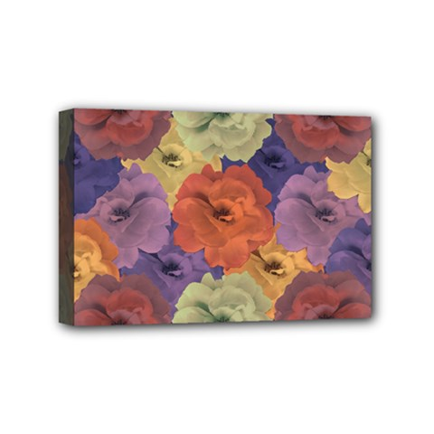 Vintage Floral Collage Pattern Mini Canvas 6  X 4  by dflcprints