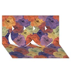Vintage Floral Collage Pattern Twin Hearts 3d Greeting Card (8x4)  by dflcprints