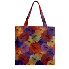 Vintage Floral Collage Pattern Zipper Grocery Tote Bag by dflcprints
